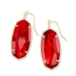 New KS  Elle Gold Drop Ear In Cherry Red Illusion